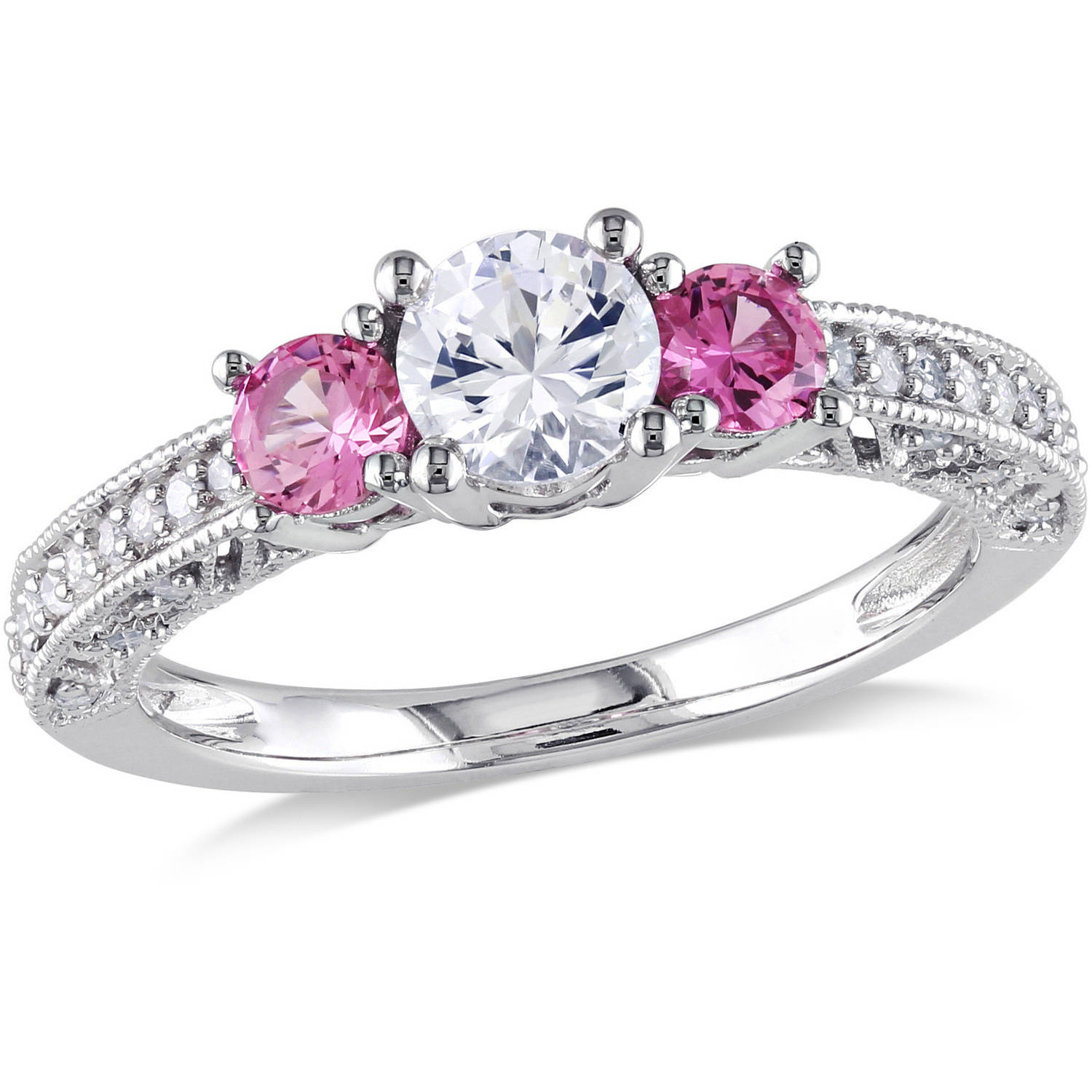 Tangelo 1 Carat T.G.W. Created White and Pink Sapphire and 1/6 Carat T.W. Diamond 10kt White Gold Three Stone Engagement Ring