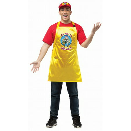 Breaking Bad Los Pollos Hermanos Apron And Visor Adult Costume One - Dio De Los Muertos Costume