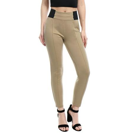 Unique Bargains Women's Full Length Side Elastic Waist Stretchy Leggings