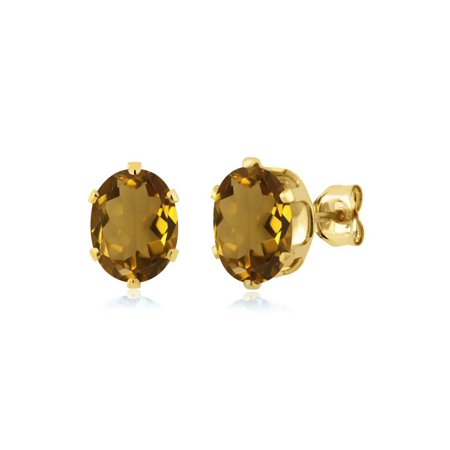- 2.30 Ct Oval 8x6mm Whiskey Quartz 925 Yellow Gold Plated Silver Stud Earrings