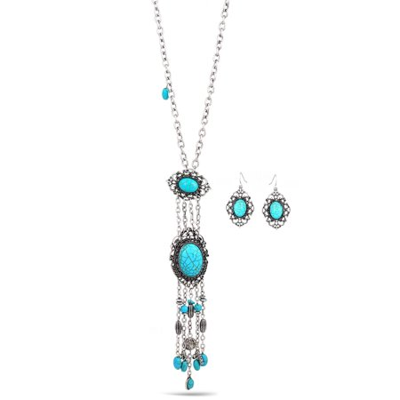 Turquoise Nugget Set - TAZZA WOMEN'S OXIDIZED ANTIQUE VINTAGE LOOK BOHO STYLE SILVER FILIGREE GENUINE TURQUOISE STONE EARRINGS AND NECKLACE SET