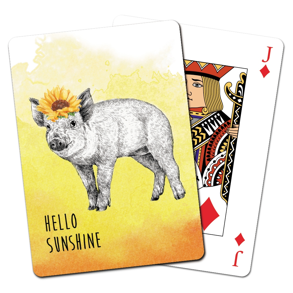 Tree-Free Greetings Boho Pig Playing Cards -CD15472