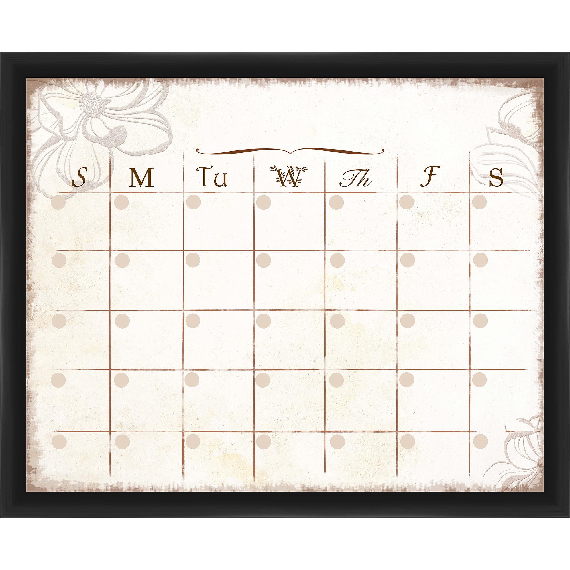 Flower Calendar Black Memoboard