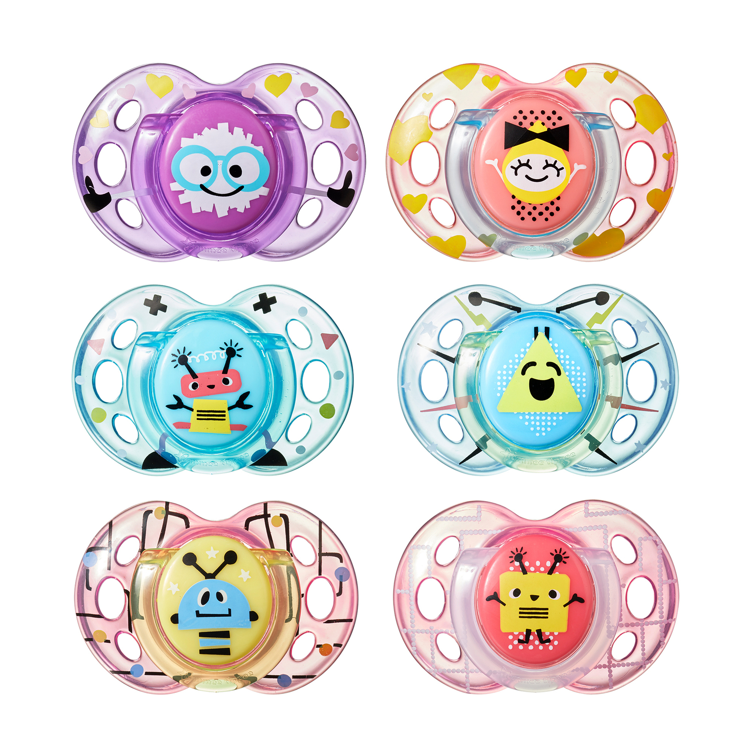 Tommee Tippee Closer to Nature Fun Style Baby Pacifiers, 6-18 months - 2 count (Colors May Vary)