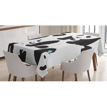Zoo Tablecloth Drawing Of Baby Pandas Milk Bottle Fly Cute Adorable Animal Figures Child Mammal Rectangular Table Cover For Dining Room Kitchen 60