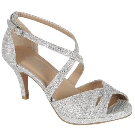 - Excited-90 Women Party Evening Dress Bridal Wedding Rhinestone Platform Kitten Low Heel Sandal Shoes Silver