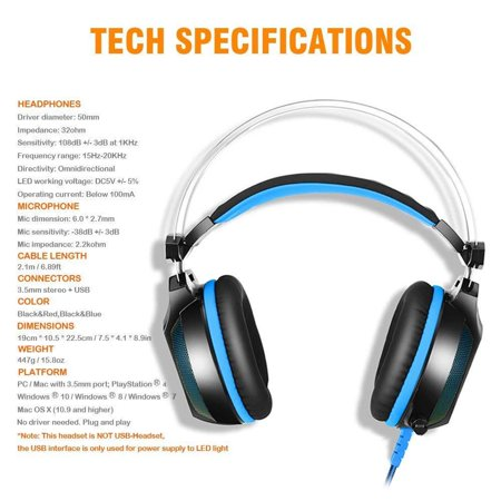 EACH GS500 Stereo Bass Surround Gaming Headsets for PS4 New Xbox One PC with Mic - image 4 de 8