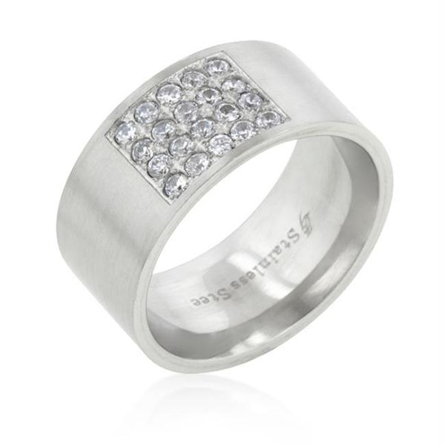 Stainless Steel Pave CZ Men's Ring, <b>Size :</b> 11