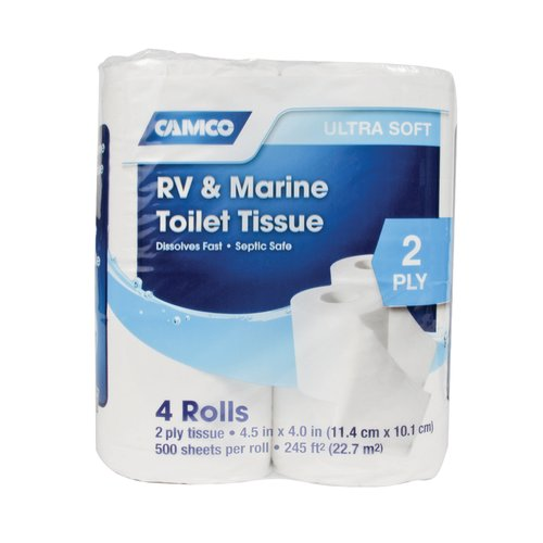 Camco Toilet Paper, RV & Marine Fast Dissolving 2-Ply Tissue, 4 Rolls