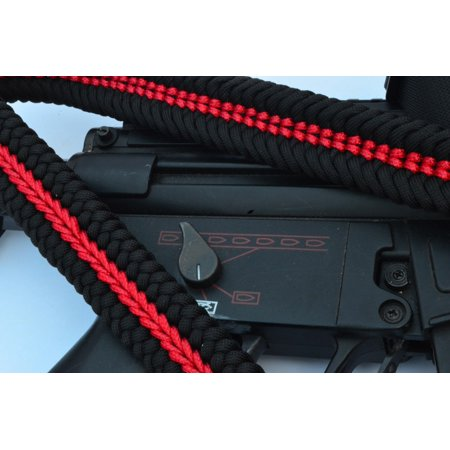 """60"""" Paracord Rifle Bow Sling 1 or 2 Point w/QD THIN RED LINE"""