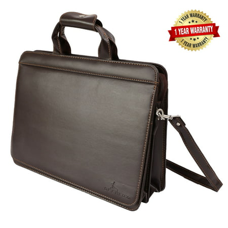 DEERLUX Brown Leather Briefcase, Mens Messenger Business Bag for Laptop