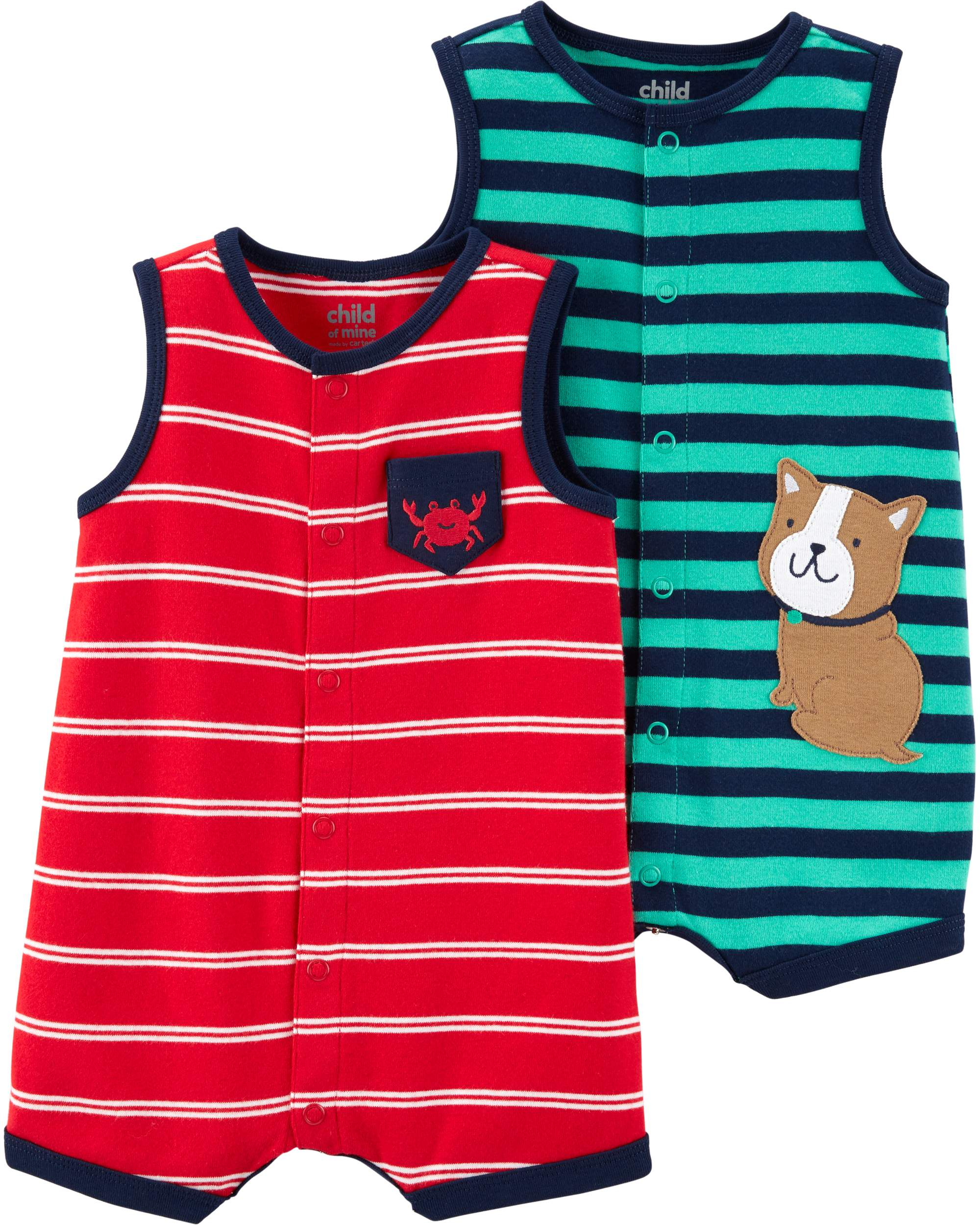 419cb07f9 Child of Mine by Carter's - Snap up romper, 2 pack (Baby Boys) - Walmart.com