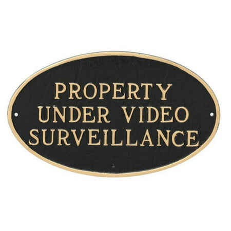 Montague Metal Products Property Under Video Surveillance Oval Wall Plaque