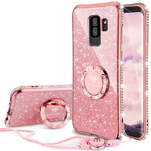 sale retailer e93c8 26c7b Galaxy S9 Case, Glitter Bling Diamond Rhinestone Bumper Cute Galaxy S9  Phone Case for Girls with Ring Kickstand Sparkly Protective Samsung Galaxy  S9 ...