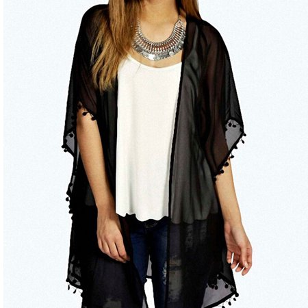 Summer Womens Boho Crochet Chiffon Cardigan Lace Floral Coat Jacket Kimono Coat Cardigan Tops New Black Size S