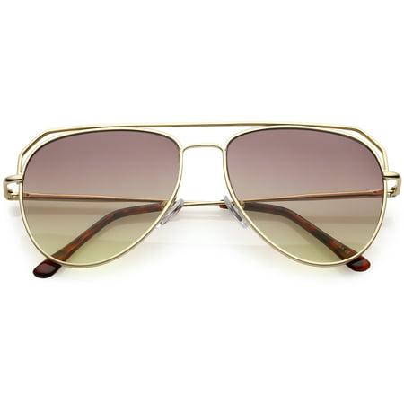 f60157e920 sunglassLA - Modern Aviator Sunglasses Open Metal Double Crossbar Gradient  Flat Lens 55mm - 55mm - Walmart.com
