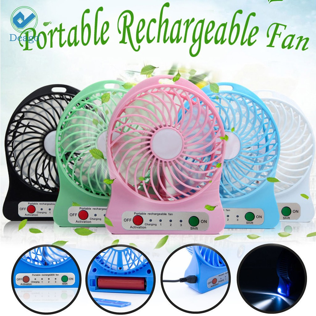 "Deago Portable Electric Mini Fan Air Cooler USB Rechargeable Desk Handheld Fans with LED Light ""Pink"""