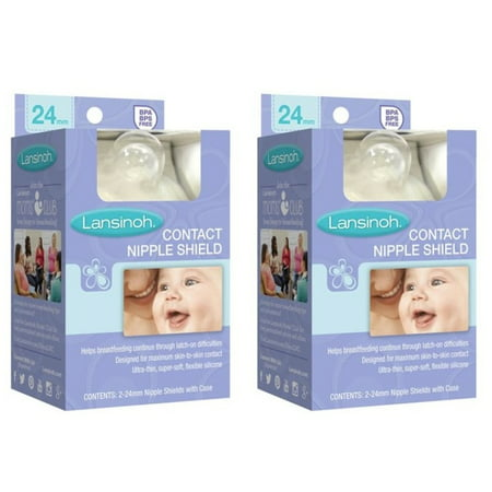 (2 Pack) Lansinoh Contact Nipple Shield, 2-24mm Nipple Shields with Case