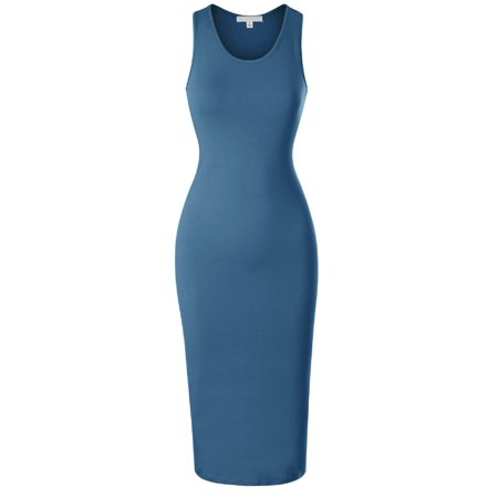 Made by Olivia Women's Sleeveless Scoop Neck Racerback Tank Bodycon Pencil Midi Dress Blue Teal S ()