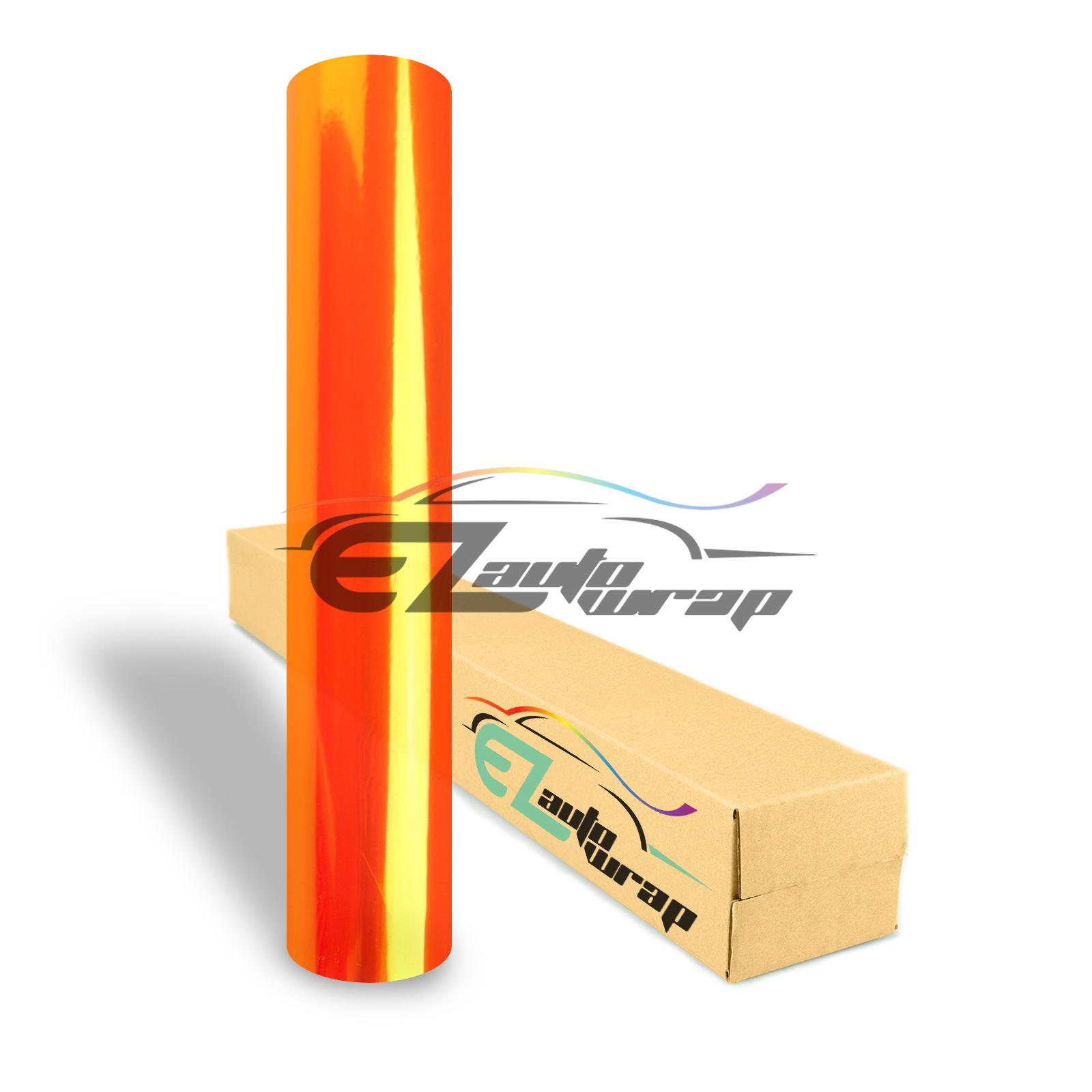 "EZAUTOWRAP 12"" Wide Glossy Orange Headlight Taillight Fog Light Side Marker Vinyl Tint Film Roll Sticker Self Adhesive"