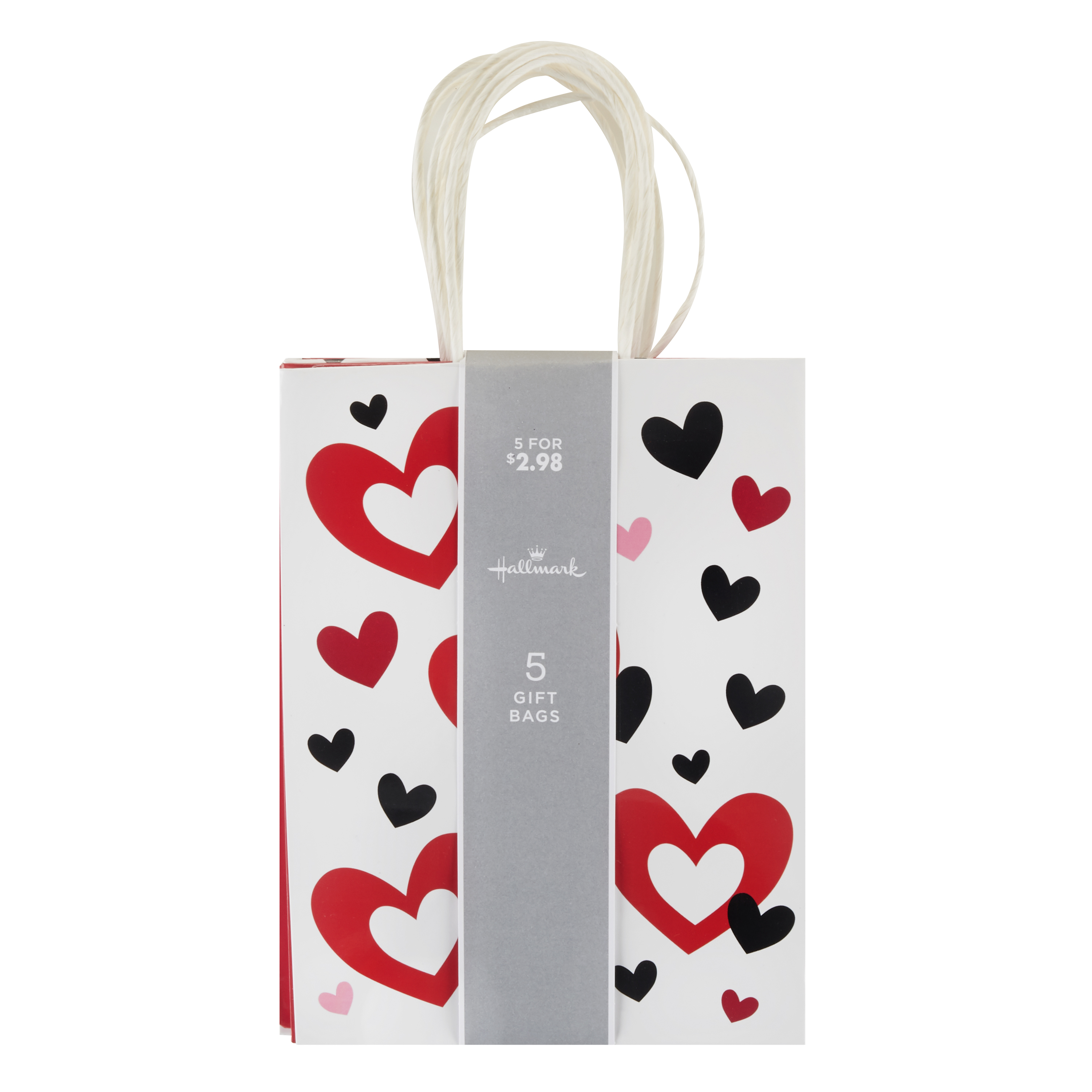 Hallmark Small Valentine's Day Gift Bags Assortment (Valentine Hearts, Pack of 5)