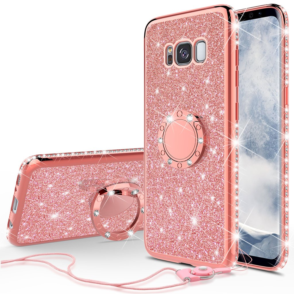 Glitter Ring Stand Phone Case for Samsung Galaxy S8 Plus Case,Cute Bling Bumper Kickstand Sparkly Clear Soft Protective for Girls Women