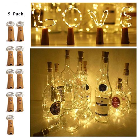 20 LEDS Warm White Wine Bottle Cork String Lights Fairy Mini Copper Wire 9 Pack