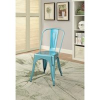 Benzara Set of Two Metal Dining Side Chairs, Glossy Blue