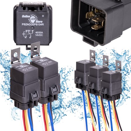 1 Spdt Relay (OLS 12V 40/30 Amp 5-Pin SPDT Bosch Style Waterproof Electrical Relay Harness Set - Pack of 5)