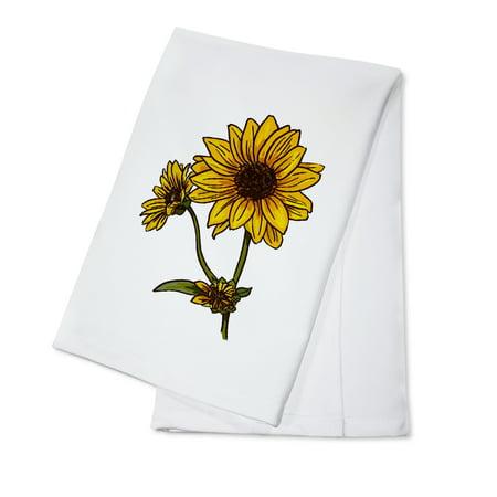 Prairie Sunflower - Icon - Lantern Press Artwork (100% Cotton Kitchen Towel)