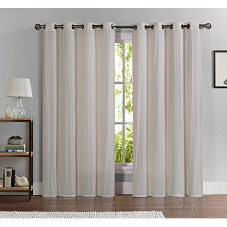 Wpm 2 Piece Crushed Sheer Window Curtain Grommet Panels Hotel Quality Drapes Beige