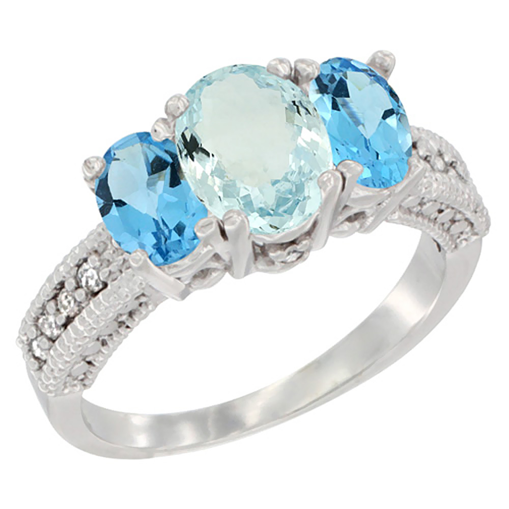 10K White Gold Diamond Natural Aquamarine Ring Oval 3-stone with Swiss Blue Topaz, sizes 5 - 10