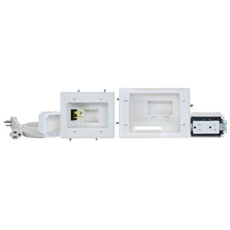 Datacomm Electronics 45-0024-wh Recessed Pro-power Kit With Straight Blade Inlet Datacomm Recessed Media Box