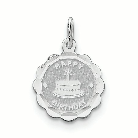 - Sterling Silver Happy Birthday Disc Charm Pendant