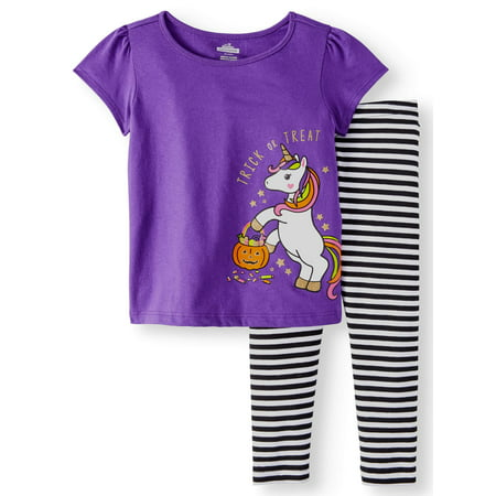 Halloween Short Sleeve Unicorn Graphic T-Shirt & Leggings, 2pc Outfit Set (Toddler Girls)