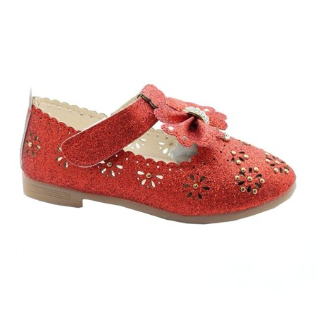 Kids Floral Doc Martens (Little Girls Red Glitter Floral Cut-Outs Scallop Bow Dress)