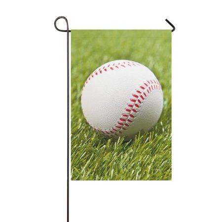 MYPOP Baseball on Fake Green Grass Garden Flag House Banner 12 x 18 inch