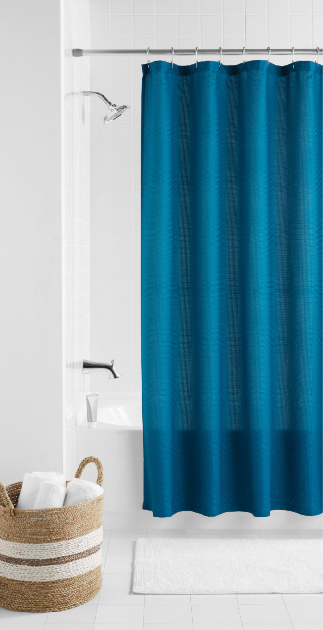 Mainstays Waffle Fabric Shower Curtain by Maytex Mills