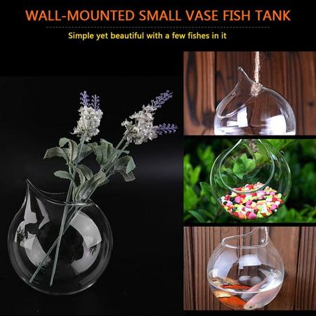Creative Transparent Borosilicate Glass Wall Hanging Fish Tank Clear Vase - image 5 de 8