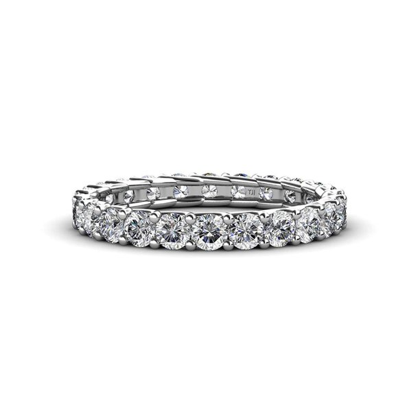 Diamond 3mm Eternity Band 1.71 cttw to 2.07 cttw in 14K White Gold.size 4.5