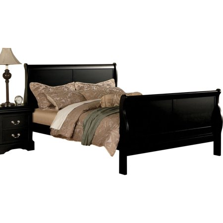 Simple Relax Louis Philippe Black Eastern King Sleigh Bed