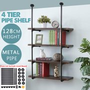 AUGIENB 4-Tier Industrial Wall-Mounted Iron Pipe Bracket Bookshelf Frame, Customizable DIY Shelving, Floating Open Display Storage for Home, Office, Commercial Use