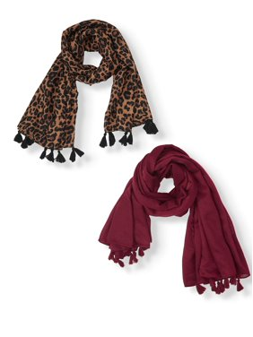 Time and Tru Women's Textured Scarf, 2-Pack