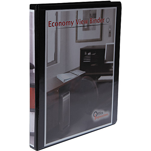 "Office Impressions Economy Round Ring View Binder, .5"" Capacity, Black"