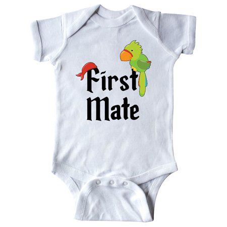 Pirate Funny Infant Bodysuit - First Mate pirate with parrot and bandanna Infant Creeper