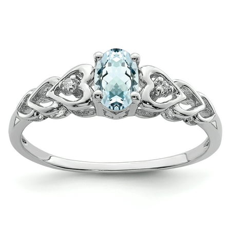 925 Sterling Silver Blue Aquamarine Diamond Band Ring Size 7.00 Set Birthstone March Gemstone Gifts For Women For (Jewel Gift Set)