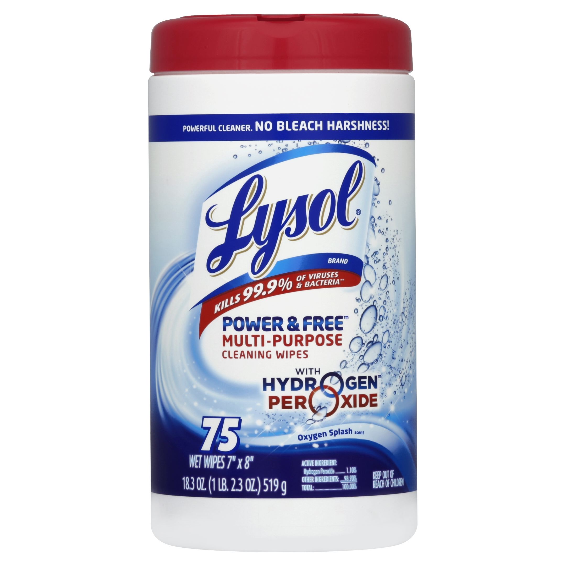Lysol Power and Free Disinfecting Multi-Purpose Wipes, Oxygen Splash, 75 Count