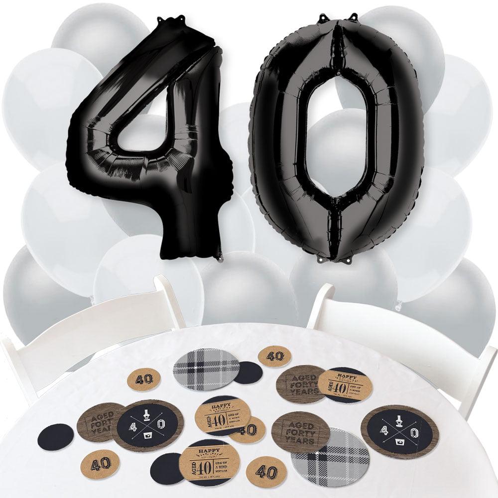 40th Milestone Birthday - Confetti and Balloon Birthday Party Decorations - Combo Kit