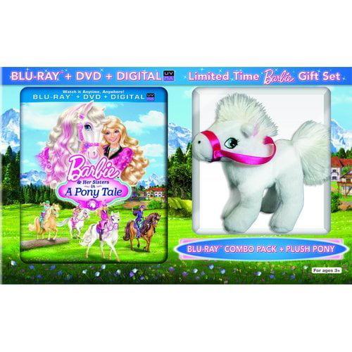 Barbie & Her Sisters In A Pony Tale (Blu-ray DVD + Digital HD + Plush Pony) (Walmart Exclusive) (Widescreen)