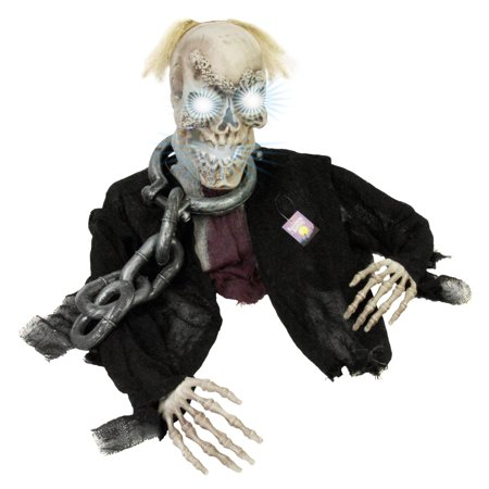 Halloween Haunters Groundbreaker Strobe Moving Skull Graveyard Prop Decoration